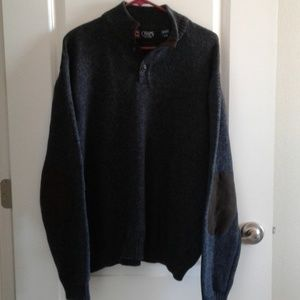 Chaps Sweater Cotton sz L Suede elbow